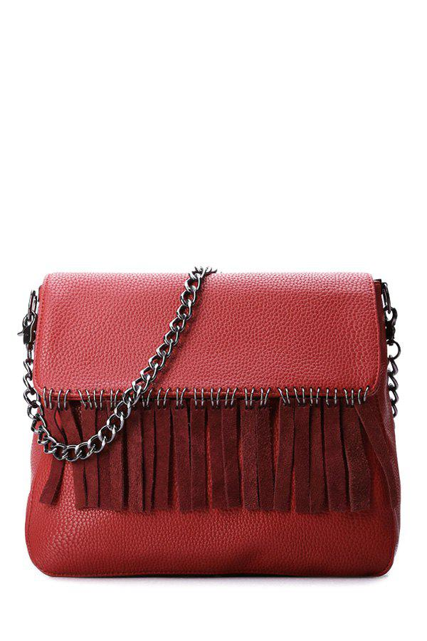 Stylish Fringe and Chains Design Women's Crossbody Bag - RED