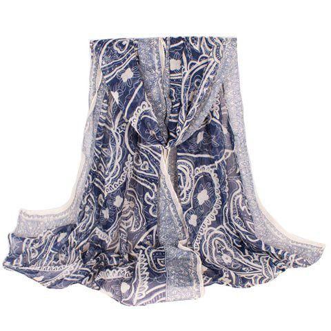 Chic Ethnic Paisley Pattern Dark Blue Women's Voile Scarf