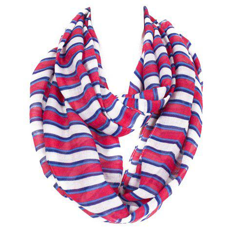 Chic Various Size Stripe Pattern Women's Voile Scarf - RED