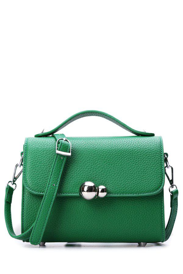 Trendy Metal and Embossing Design Women's Crossbody Bag - GREEN