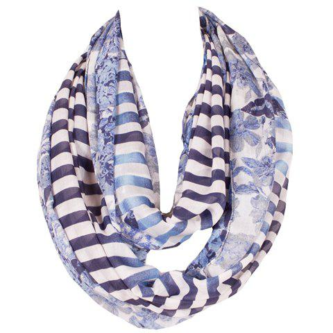 Chic Flower and Stripe Pattern Women's Voile Scarf - CADETBLUE