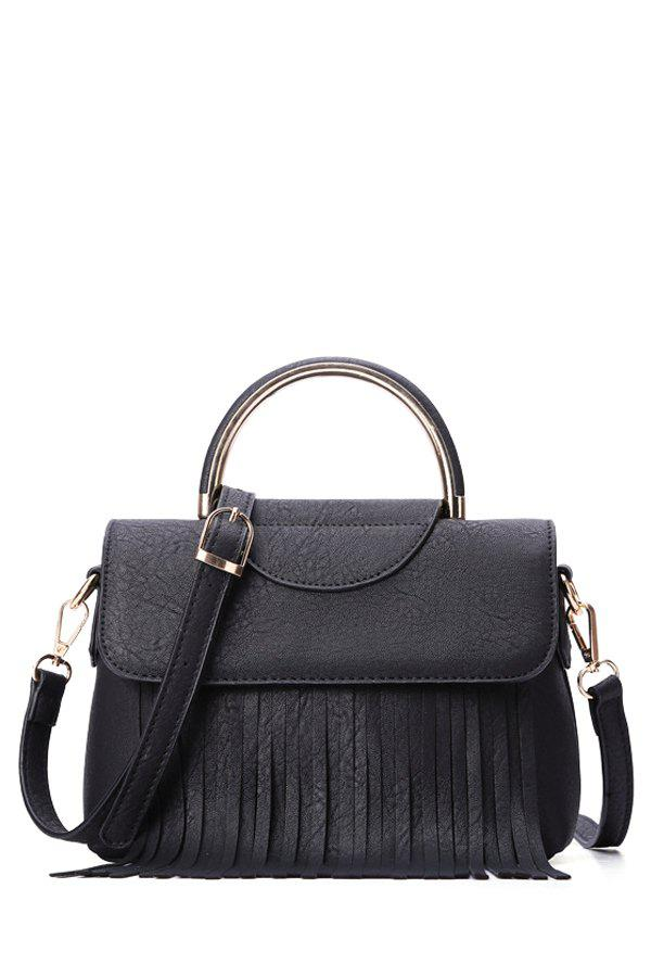 Trendy Fringe and Cover Design Women's Tote Bag -  BLACK