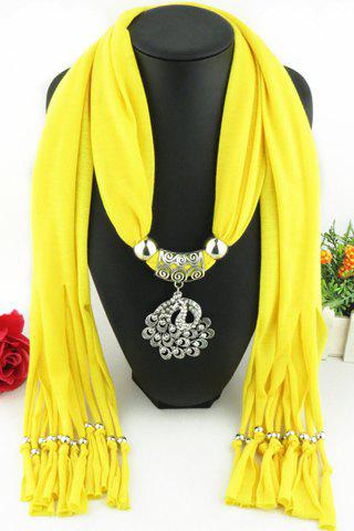 Chic Rhinestone Inlay Hollow Out Peacock Pendant Embellished Tassel Scarf For Women - COLOR ASSORTED