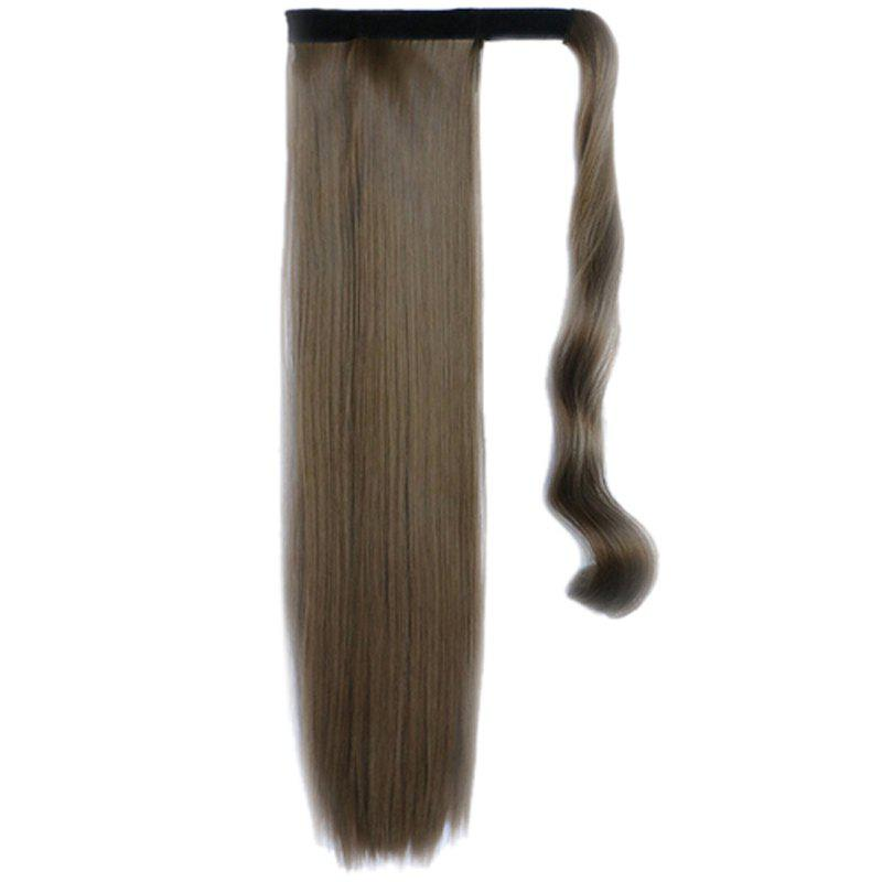 Graceful Hook & Loop Long Capless Stylish Glossy Straight Synthetic Women's Ponytail - BROWN