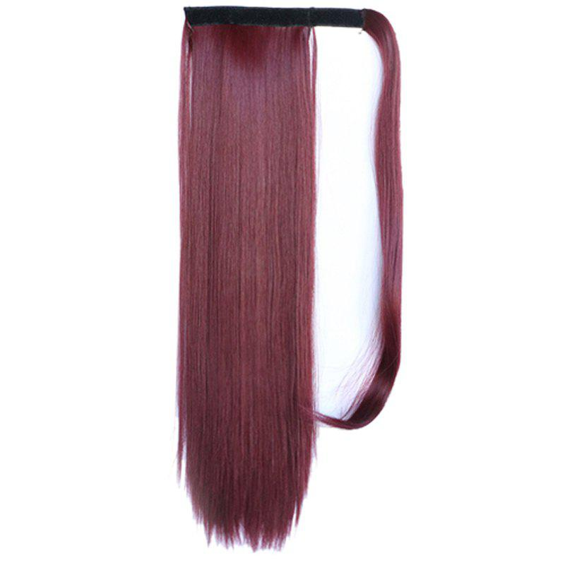 Graceful Hook & Loop Long Capless Stylish Glossy Straight Synthetic Women's Ponytail - DARK AUBURN