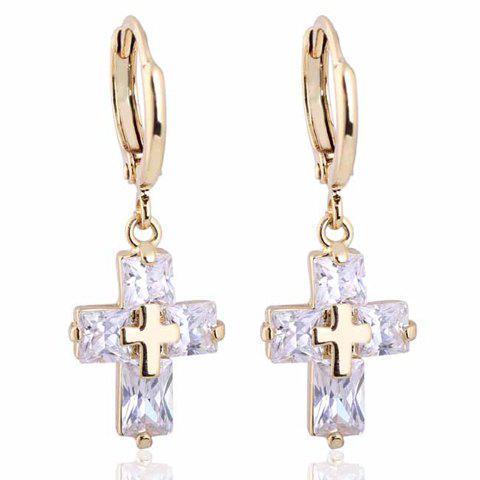 Pair of Trendy Faux Crystal Cross Shape Earrings For Women - WHITE