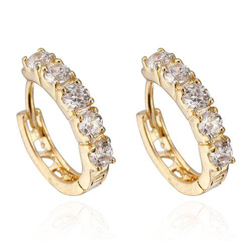 Pair of Rhinestone Hollow Out Earrings - WHITE