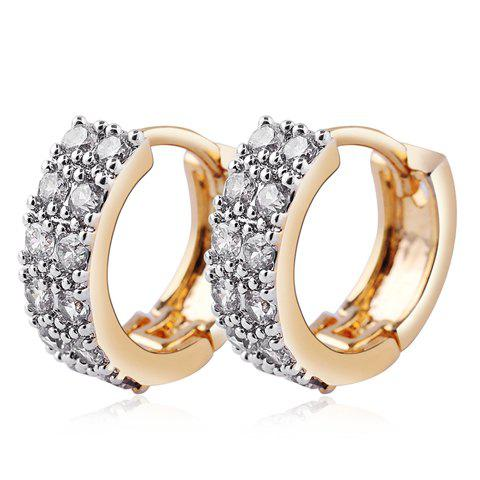 Rhinestone Round Hollow Out Earrings - GOLDEN