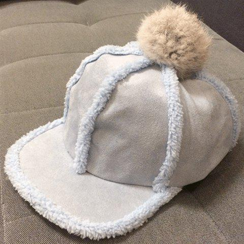 Chic Faux Fur and Small Ball Embellished Women's Winter Baseball Cap - RANDOM COLOR