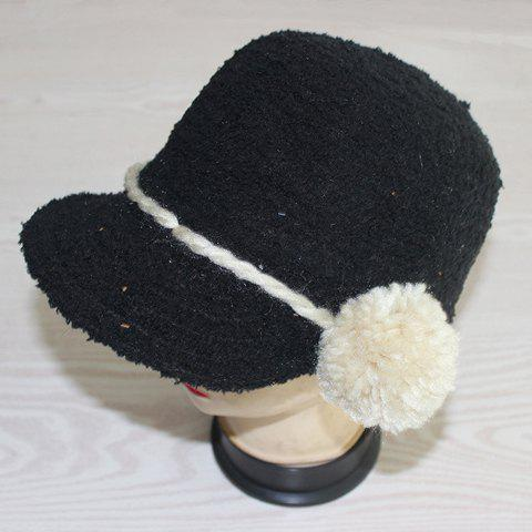 Chic Small Ball Lace-Up Embellished Solid Color Women's Winter Equestrianism Hat - RANDOM COLOR