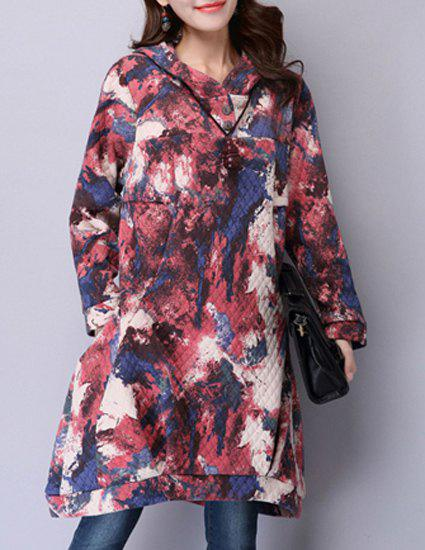Stylish Hooded Long Sleeve Printed Loose-Fitting Women's Dress - RED M