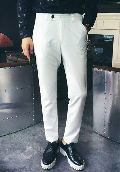 Slimming Zipper Fly Straight Leg Stylish Men's Nine Minutes of Pants - WHITE 2XL