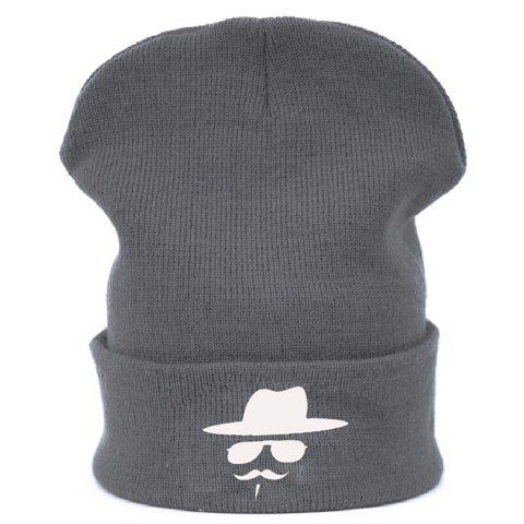 Stylish Cap Sunglasses Moustache Pattern Brim Flanging Knitted Beanie For Men