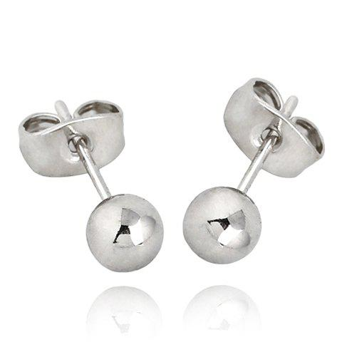 Pair of Ball Shape Stud Earrings - SILVER