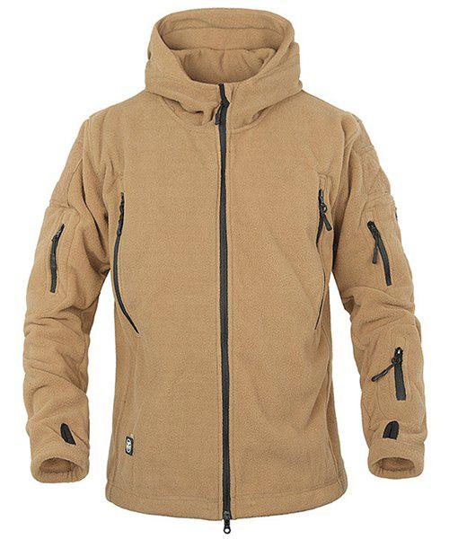 Outdoor Hooded Multi-Zipper Solid Color Applique Design Long Sleeves Men's Fleece Jacket - EARTHY S