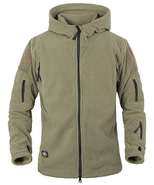 Outdoor Hooded Multi-Zipper Solid Color Applique Design Long Sleeves Men's Fleece Jacket