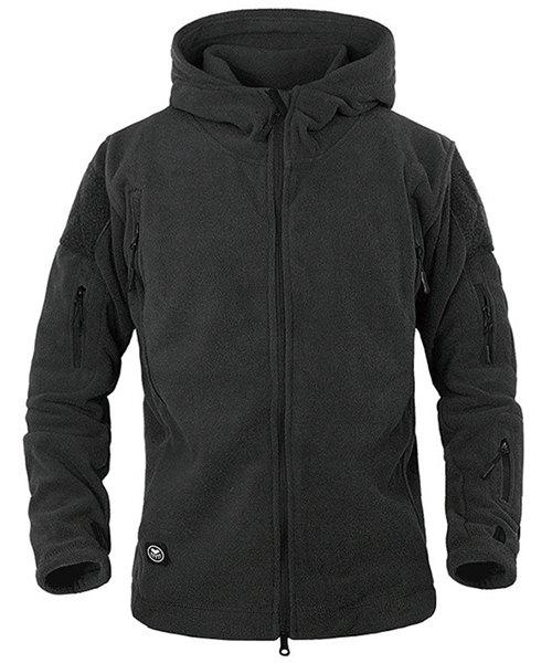 Outdoor Hooded Multi-Zipper Solid Color Applique Design Long Sleeves Men's Fleece Jacket - BLACK S