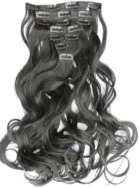 Bouffant Curly Fashion Long Attractive Clip In Synthetic Women's Hair Extension Suit - JET BLACK