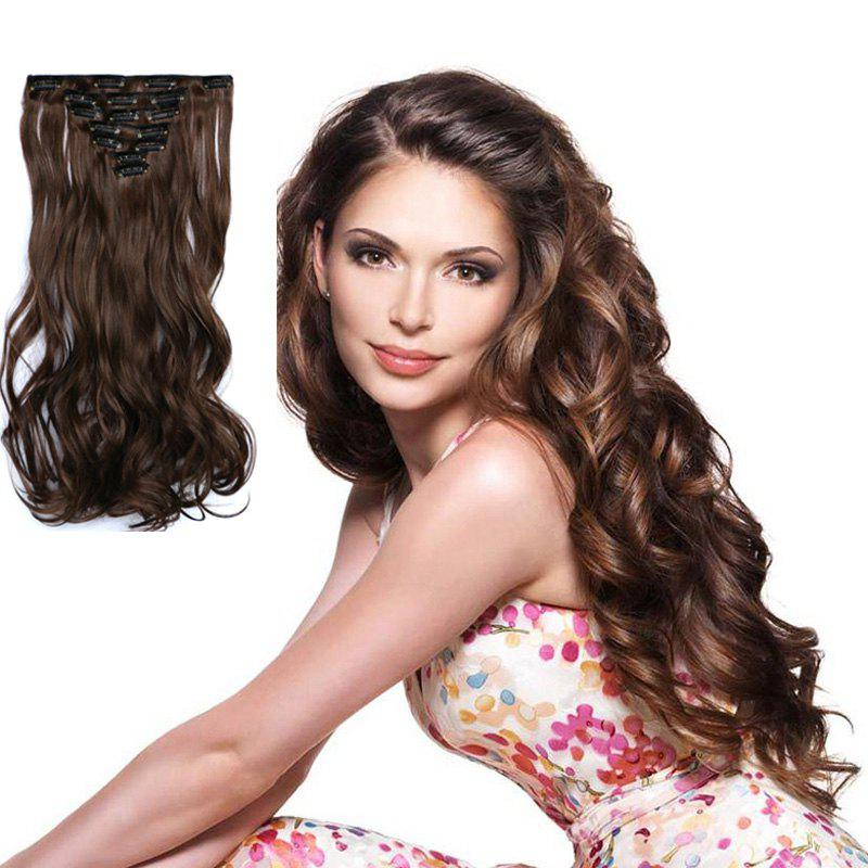 Stunning Long Clip In Synthetic Fashion Mixed Color Fluffy Curly Hair Extension Suit For Women - DEEP BROWN A/ A