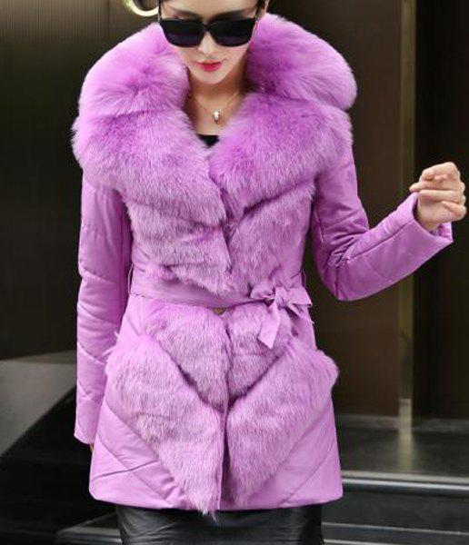 Stunning Women's Faux Fur Collar Long Sleeve Faux Leather Self-Tie Coat - PURPLE M