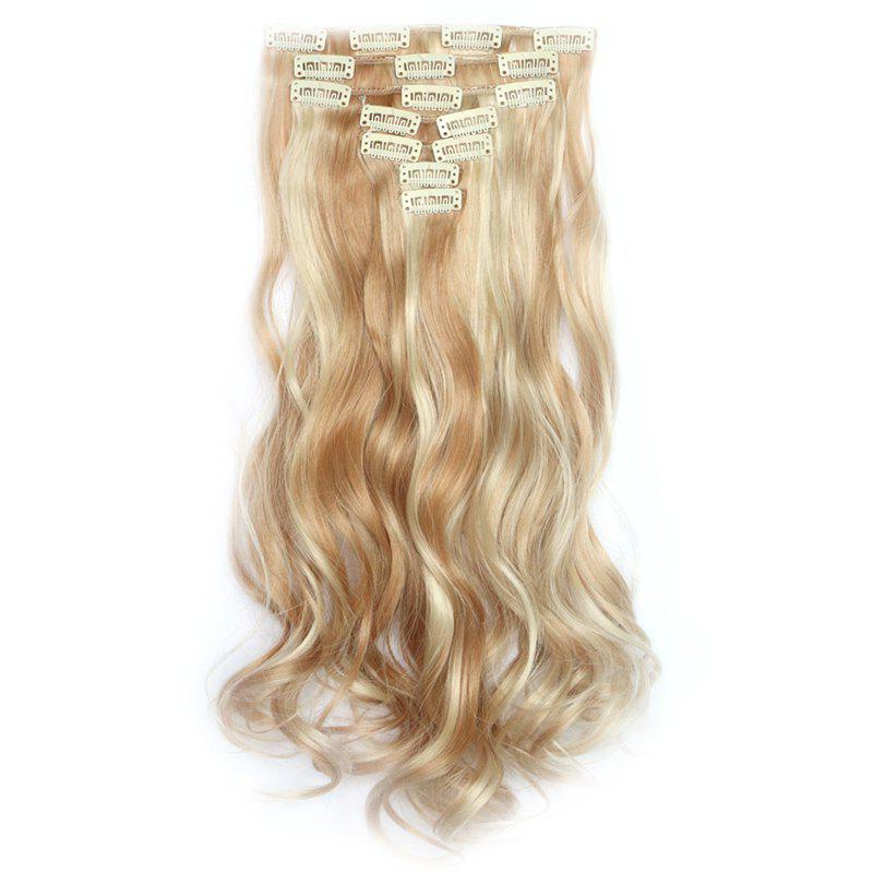 Stylish Long Clip In Synthetic Gorgeous Colormix Shaggy Curly Hair Extension Suit For Women - ASH BLONDE MIXED 26H613