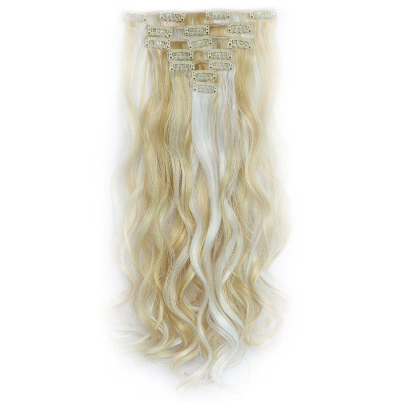 Stylish Long Clip In Synthetic Gorgeous Colormix Shaggy Curly Hair Extension Suit For Women - LIME WHITE 60/613