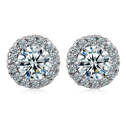 Pair of Rhinestoned Faux Crystal Round Earrings - WHITE