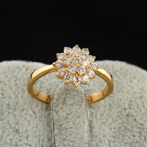 Simple Style Rhinestoned Floral Ring For Women