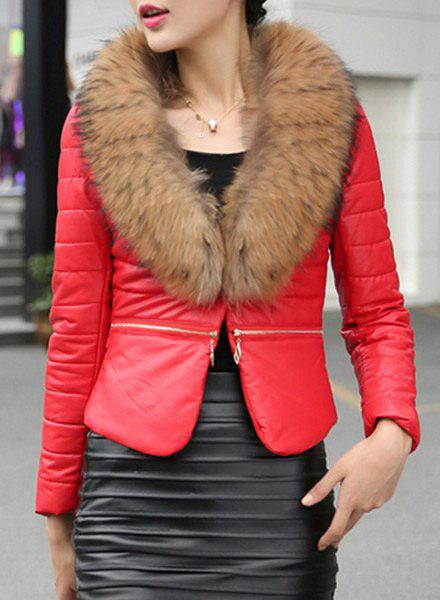 Elegant Women's Faux Fur Collar Long Sleeve Faux Leather Coat - RED M