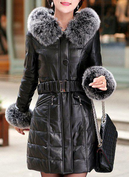 Elegant Women's Faux Fur Collar Long Sleeve Slimming Faux Leather Coat - BLACK L