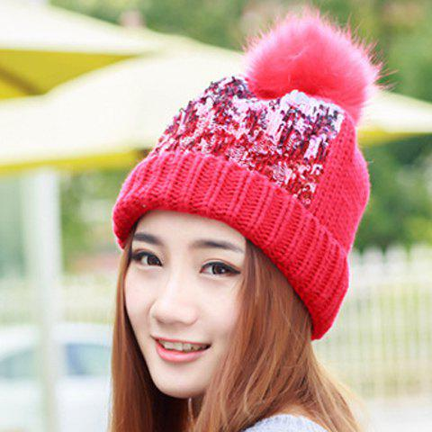 Chic Faux Fur Ball and Sequins Embellished Knitted Beanie For Women