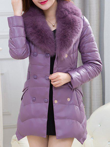 Charming Faux Fur V-Neck Ruched Irregular Thick Faux Leather Down Coat For Women