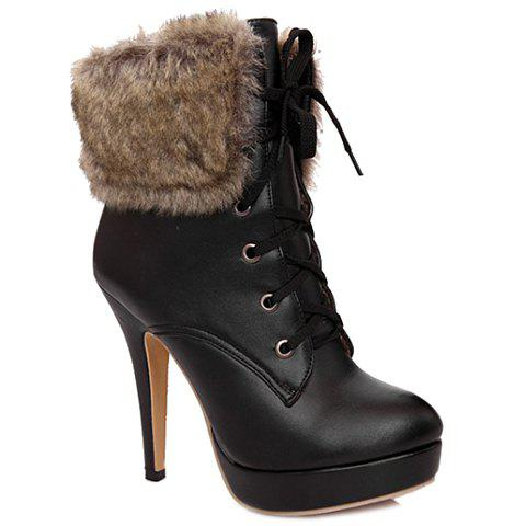 Stylish Faux Fur and Platform Design Women's High Heel Boots - BLACK 38