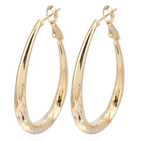Pair of Engraved Oval Earrings - GOLDEN