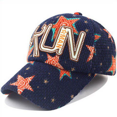 Chic Letters Shape Embellished Five-Pointed Star Pattern Winter Baseball Cap For Women - CADETBLUE