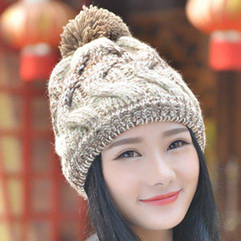 Chic Small Ball Mixed Color Thicken Knitted Beanie For Women - RANDOM COLOR