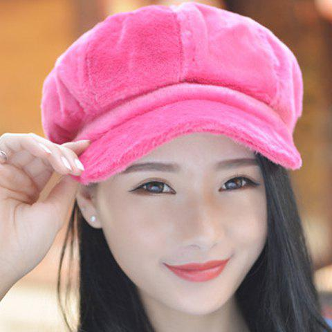 Chic Faux Fur Fresh Color Downy Newsboy Cap For Women - ROSE