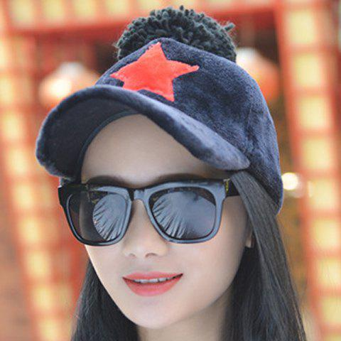 Chic Small Ball and Five-Pointed Star Shape Embellished Winter Baseball Cap For Women - COLOR ASSORTED