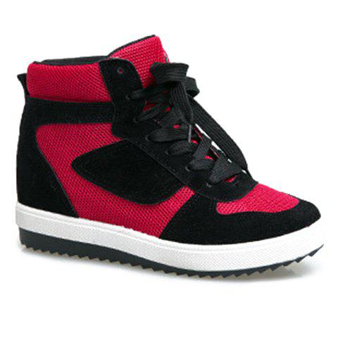 Fashion Color Matching and Lacing Design Athletic Shoes For Women - RED 37