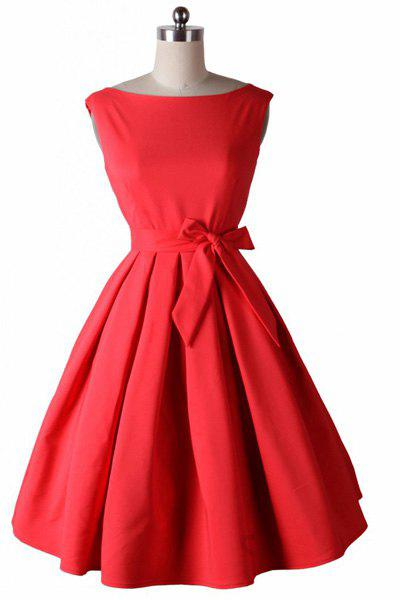 Noble Sleeveless Round Neck Bowknot Embellished Solid Color Women's Dress - RED 2XL