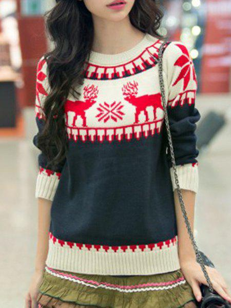 Attractive Long Sleeve Elk Printed Pullover Snowflake Sweater For Women - DEEP BLUE ONE SIZE(FIT SIZE XS TO M)