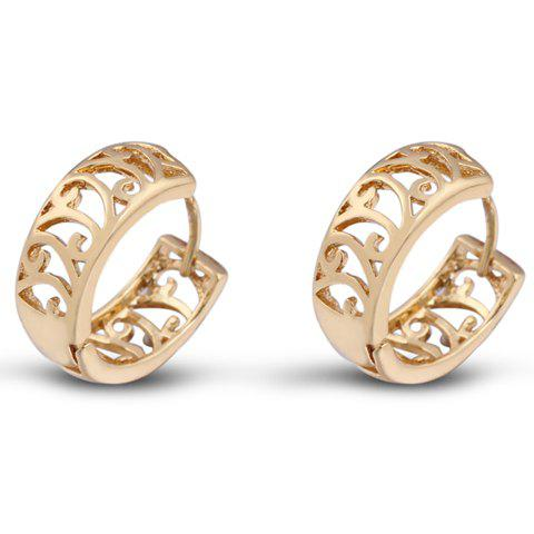 Pair of Hollow Out Round Earrings - GOLDEN