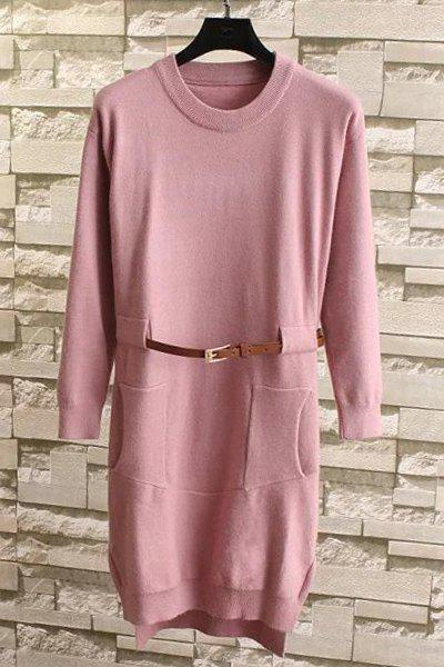 Chic Style Solid Color Pocket Design Jewel Neck Long Sleeve Sweater For Women - PINK ONE SIZE(FIT SIZE XS TO M)