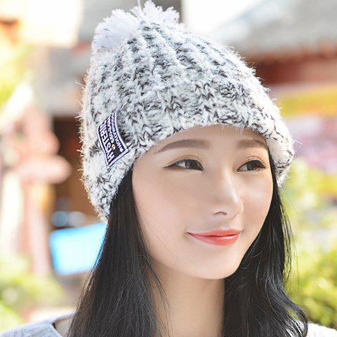 Chic Letters Label and Woolen Yarn Ball Embellished Mixed Color Women's Knitted Beanie - WHITE