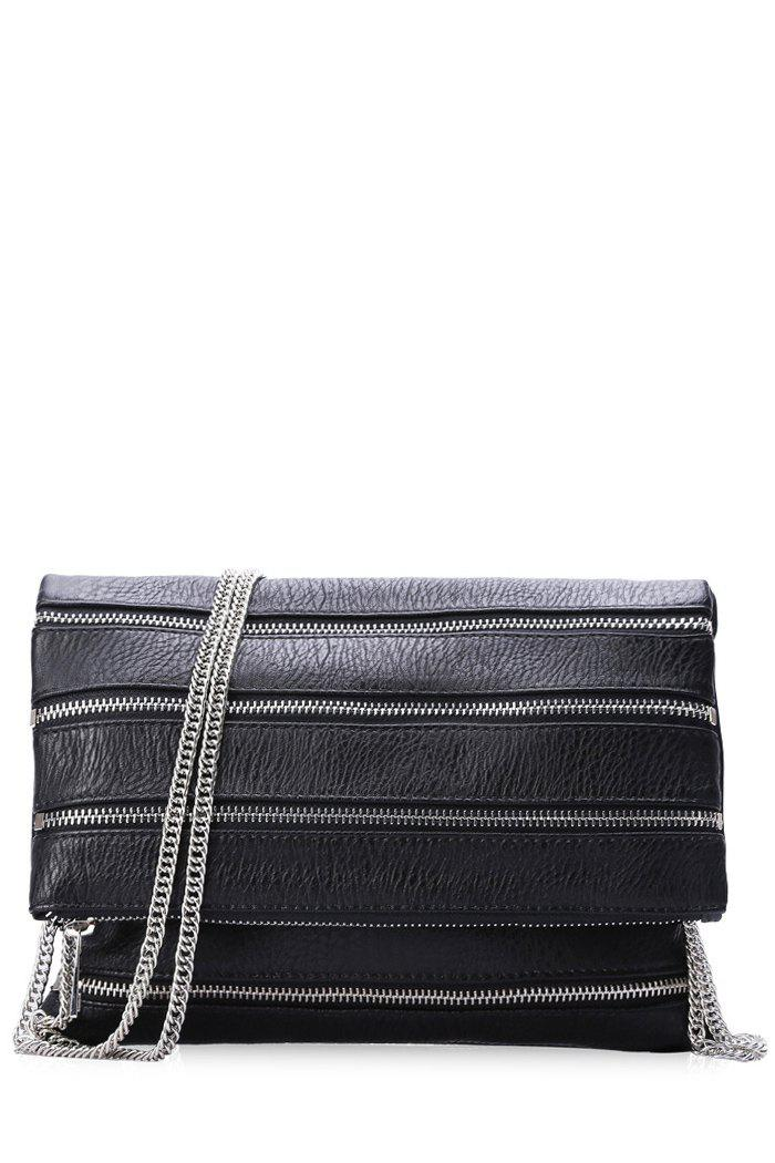 Stylish Chains and Cover Design Women's Crossbody Bag - BLACK