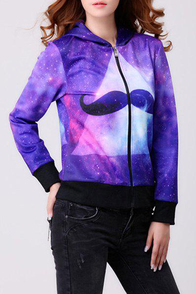 Women's Trendy Hooded Long Sleeve Trippy Print Hoodie - AS THE PICTURE S
