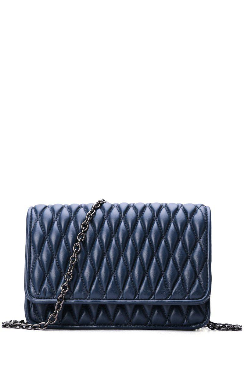 Stylish Checked and Chains Design Women's Crossbody Bag - BLUE