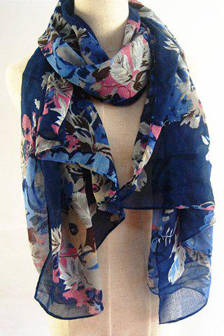 Chic Handpainted Flowers and Leaves Pattern Scarf For Women -  DEEP BLUE