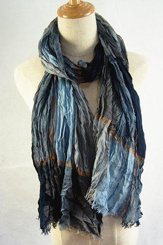 Chic Fringed Edge Various Dark Color Pleated Scarf For Women -  BLACK