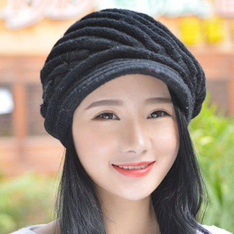 Chic Twill Shape Embellished Women's Thicken Knitted Newsboy Cap - RANDOM COLOR